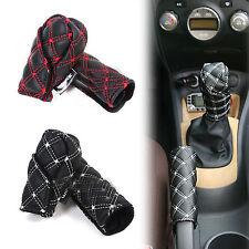 E 2 Pcs/Set Car Hand Brake Leather Case & Gear Shift Case Interior Accessories