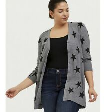 NWT Torrid Gray Black Star Boyfriend Cardigan Lightweight Sweater Size 1 14/16