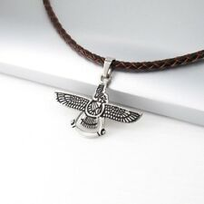 Silver Black Eagle Stainless Steel Pendant 3mm Brown Braided Leather Necklace