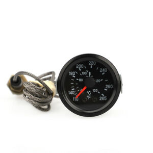 "2"" 52mm Celsius Water Temp Temperture Gauge Meter with Sensor Fahrenheit Black"