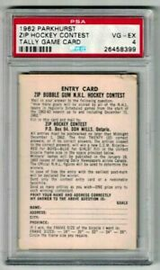 1962 Parkhurst Hockey Contest/Tally Card PSA 4 VG-EX
