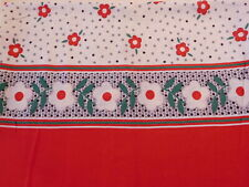 Vintage Closed FEEDSACK FEEDBAG Quilt Fabric Red White Poppies Polka Dots