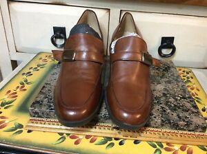 VTG Enzo angiolini Whyrl women's brown leather heel block loafers Sz 8 M