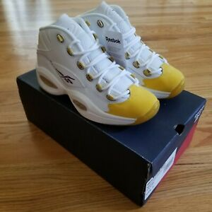 Reebok Question Mid OG Yellow Toe Basketball Shoe GS 6.5Y FX4286 Brand New