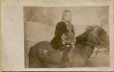 VTG Little Girl Sitting/Riding on Horse Studio RPPC Photo Postcard A10