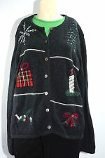 Ugly Sweater Christmas Button Cardigan Long Sleeve Gray Knit Tree Present Sz XL