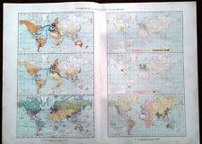Carta geografica antica MAPPAMONDO COMMERCIO TRAFFICI De Agostini 1927 Old map