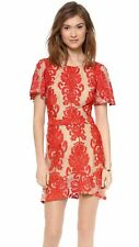 FOR LOVE LEMONS Red Lace San Marcos Backless Mini Dress - size S