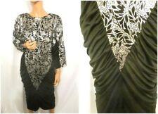 Vintage 1980s UK12 Black Very Batwing Ruched Silver Floral Foil Dress Studio 54