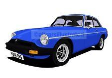 MGB GT CAR ART PRINT (SIZE A3). CHOOSE YOUR COLOUR, ADD YOUR REG PLATE
