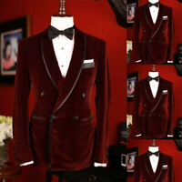 Blazer Coat Velvet Men Suit Jacket Double-breasted Tuxedo Wedding Shawl Lapel