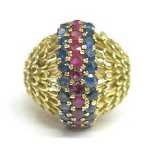 Jewelry Ring Yellow Gold 2.20Ct 18Kt Gem Sapphire Ruby Designer