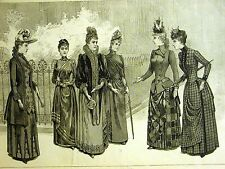 Victorian Ladies Fashion CLOTH COATS & GOWNS 1889 Antique Art Engraving  Matted