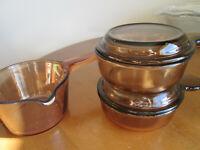 5 pc. CorningWare Vision 2 V-150-B Grab It Heat & Eat &  .7 l. Sauce Pan No Lid