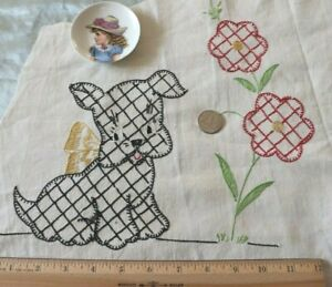 """Vintage c1930s Dog-Puppy Hand Embroidery On Cotton~L-14"""" X W-20"""""""
