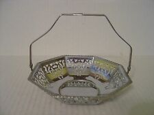 Vintage Small Reticulated Chrome Basket With Moveable Handle