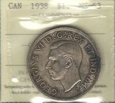 1938 Silver Dollar ICCS MS-63 SCARCE PQ TONED Beauty KEY George VI Canada $1.00