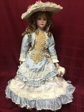 """Thelma Resch Young Girl 1994 13/2000 Porcelain Doll Blue w White Lace 29"""""""