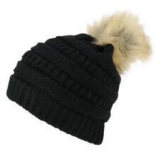 Womens Soft Ribbed Faux Fur Pom Pom Beanie Hat