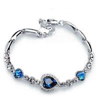 Fashion Women Girls Blue Crystal Jewelry Silver Plated Charm Bracelet Bangle Hot