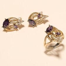 Natural Purple Zircon Ring Earrings 925 Sterling Silver Two Tone Wedding Jewelry