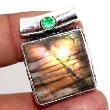 """Fiery Labradorite Green Topaz 925 Sterling Silver Plated Pendant 1.2"""" GW"""