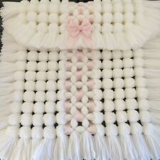 Luxurious Baby Pom Pom Blanket / Pram / Car Seat Cover in All White with Pink