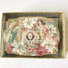 Punch Studio Box of 10 Embellished Holiday Cards Joy Rustic Angel 64921 Shaped