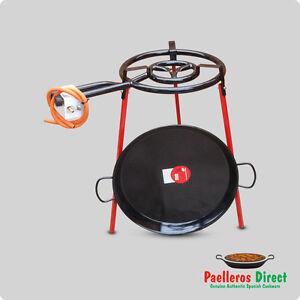 50cm Spanish Enamelled Steel Paella Pan & 40cm Gas Burner Kit / Set - Square Leg