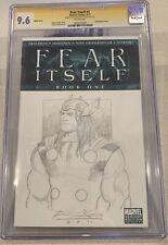 Fear Itself 1 CGC 9.6 Signature Series Thor Ariel Olivetti Original Sketch Cover