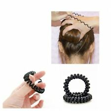 Black Girls Elastic Extendable Hair Ties Telephone Wire Rubber Hair Rope