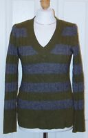 ANN TAYLOR LOFT Size Small Green & Gray V-Neck Cable Knit Sweater