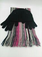 Womens Joe Boxer Brand Scarf Gloves Hat 3 Piece Black Pink Gray