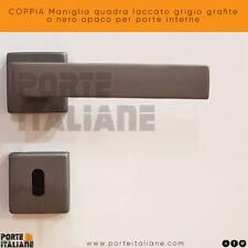 COPPIA Maniglia quadra laccato grigio grafite o nero opaco per porte interne
