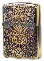 Zippo Oil Lighter Antique Floral Arabesque Brass Gold Double Sided Processing