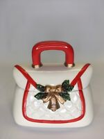 DAVID'S COOKIES Cookie Jar Holiday Purse  Candy  Gold Bell Holly Christmas