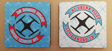 """Coaster- DRONE DESIGN- 4"""" Square Rubber backed polyester fabric set of 2"""
