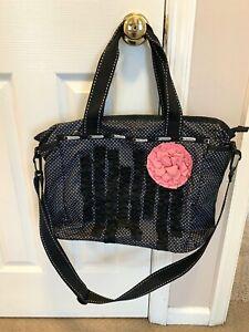 LeSportsac Black White Polka Dots Diaper Bag / Tote w/ Ruffles & Pink Rose RYAN