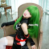 100CM Long Code Geass C.C. Green Straight Hair Women Anime Cosplay Wig + Wig Cap