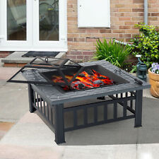 New Black Square Outdoor Fire Pit BBQ Patio Heater Log Burner Metal Stove Grill