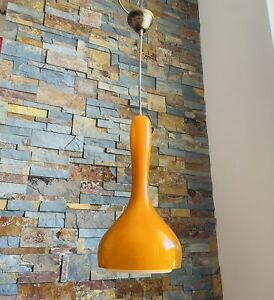 🔴 splendido lampadario anni 70 in vetro di Murano della Vistosi colore arancio
