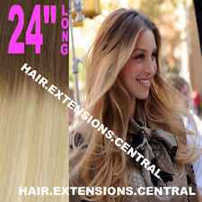 "24"" THICK BALAYAGE OMBRE CLIP IN REMY HUMAN HAIR EXTENSIONS BROWN BLONDE 6/613"