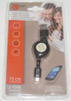 Rouleau Câble USB Lightning Noir 75 cm Smartphone Charging Data Transfer