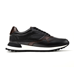 Massimo Dutti Mens UK 12 EU 46 US13 Black Leather Trainers Sneakers Casual Shoes
