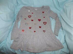 Girls Gymboree Cozy Valentine top size 6--GUC--gray, L/S, red/silver sequin hear