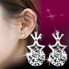 Fashion Women 925 Sterling Silver Crystal Rhinestone Crown Ear Stud Earrings