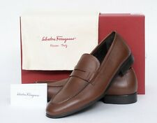 NIB Salvatore Ferragamo Fiorino 2 Mens Brown Leather Penny Loafer Shoes 8 D