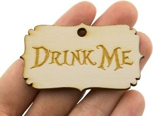 4 Drink Me Wooden Tags Pendants Alice in Wonderland Crafts Wood Tags 2.2""