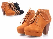 Tan Faux Suede Lace Up Booties Cuban High Heel Women Ankle Boots Size 8