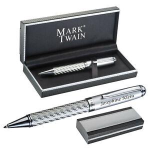 MARK®TWAIN Drehkugelschreiber aus Metall im Geschenketui Carbon mit Gravur 17841